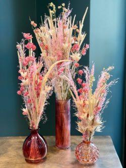 Trio de fleurs séchées roses - 3 bouquets