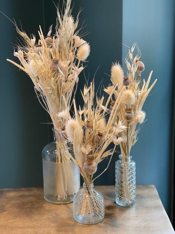 trio bouquets de fleurs séchées - 3 vases